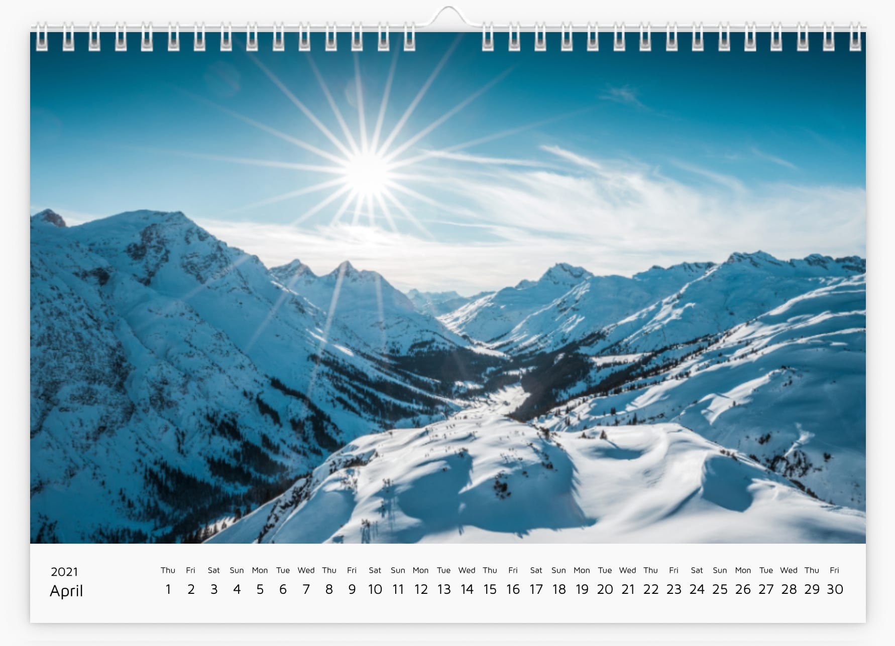 April - Calendar 2021
