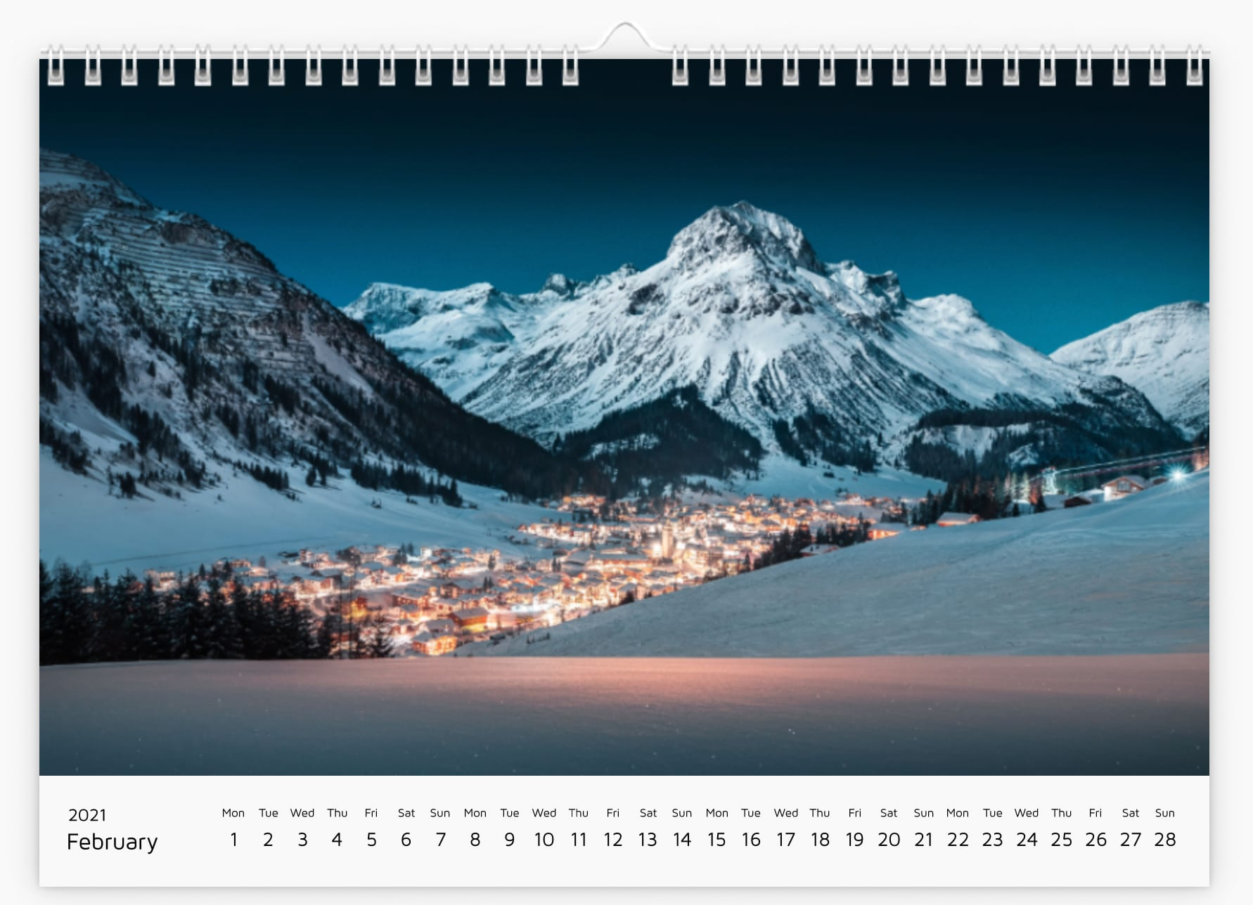 February - Calendar 2021