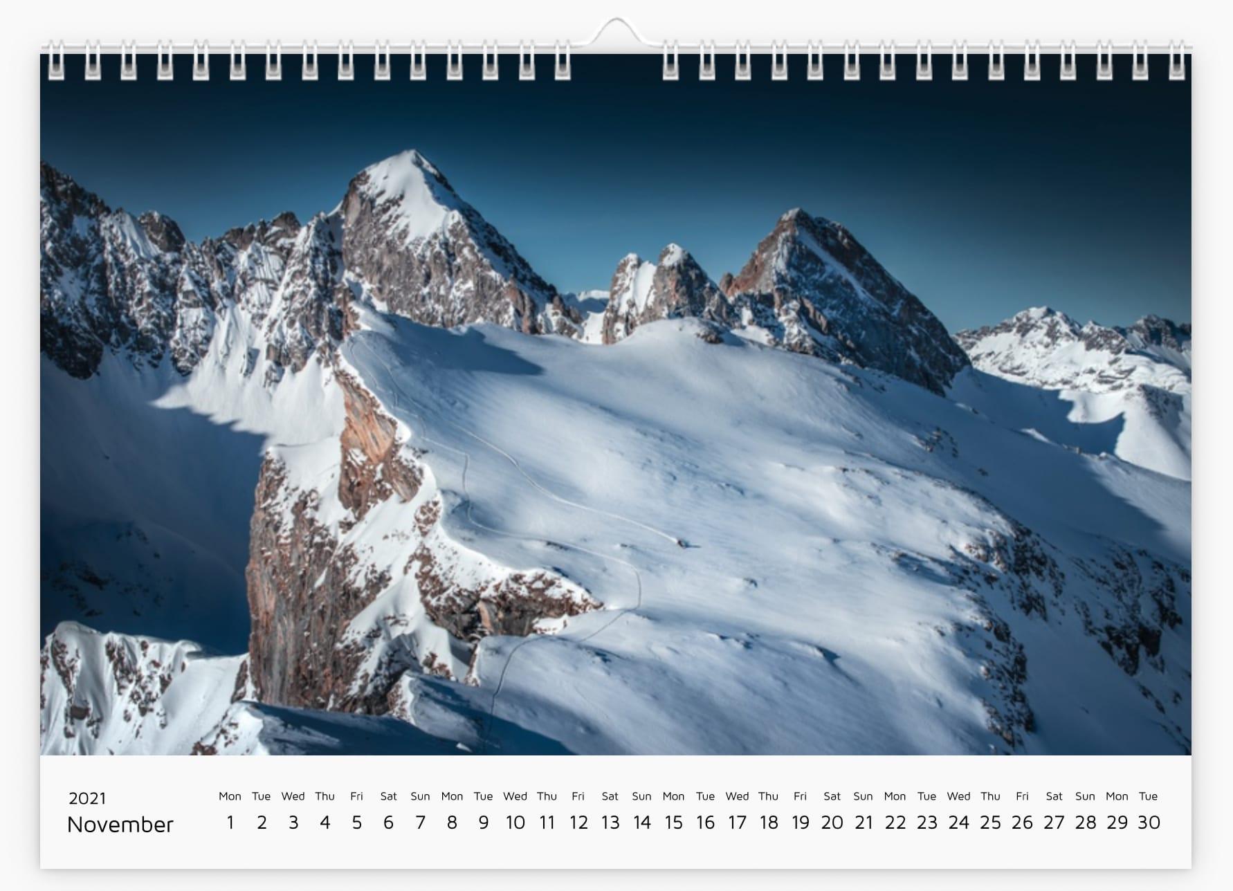 November - Calendar 2021